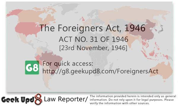 Foreigners Act, 1946 [Bare Act PDF Download]