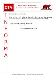 C.T.A. INFORMA CRÉDITO HORARIO MANUEL FERNANDEZ, DICIEMBRE 2018