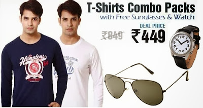 Get T-Shirt Combo with FREE Watch & Sunglasses for Rs.449 Only