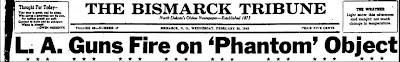 Guns Fire On 'Phantom' Obect (Heading) - Bismarck Tribune 2-25-1942