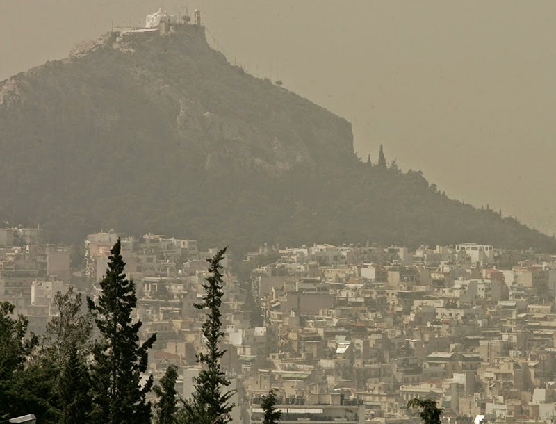 Lycavitos, Athens, under dust