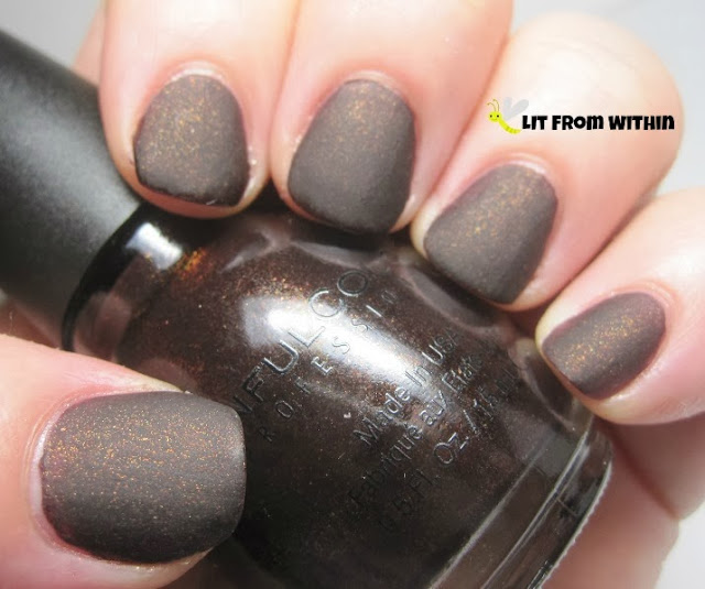 his is the only glitter from the Sinful Colors matte 'leather' collection, Leather Loose.