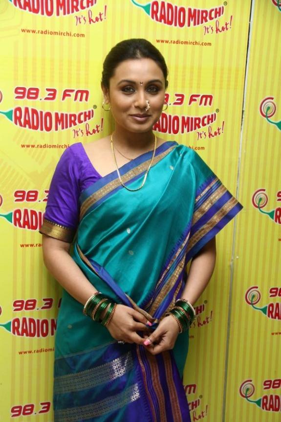 , Rani Mukherji At Radio Mirchi In Marathi Saree