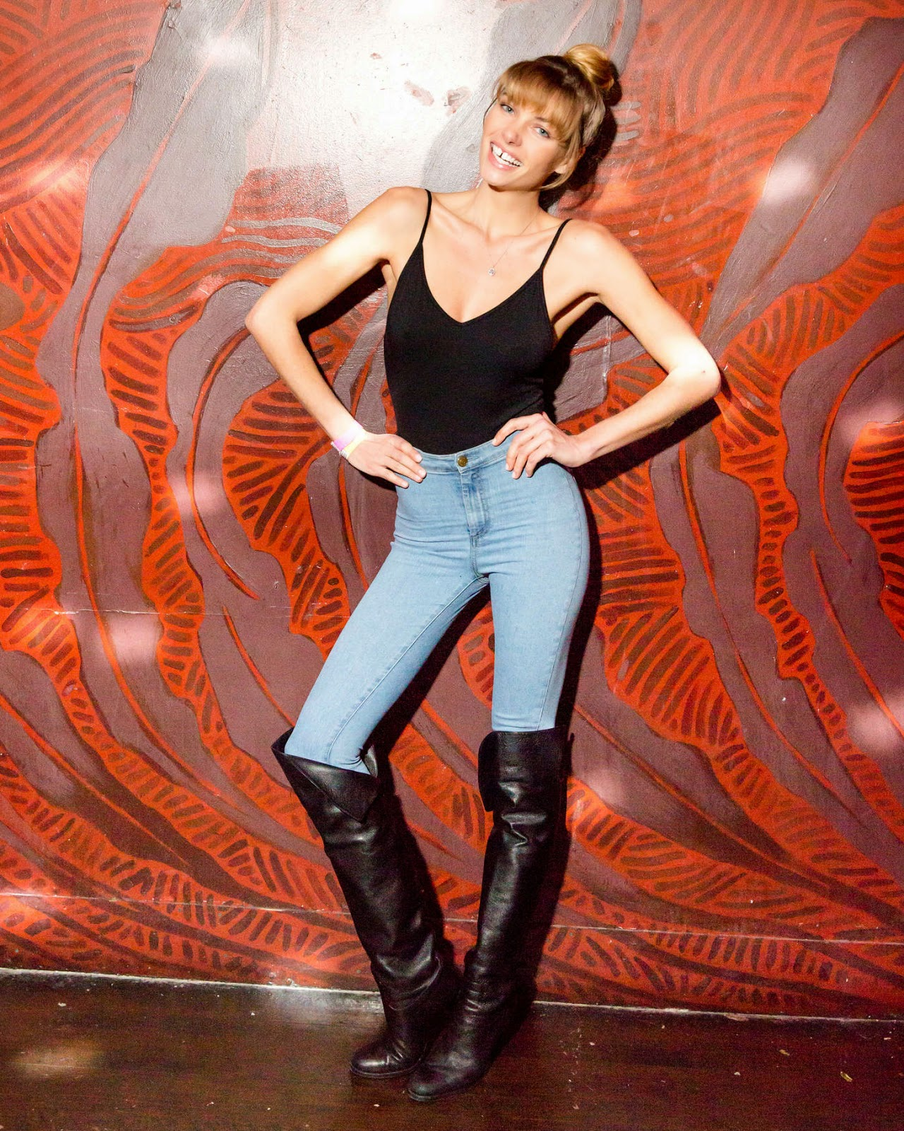 Jessica Hart shows off curves in denim jeans at Brandsway Creative's 5th Anniversary Party in NY