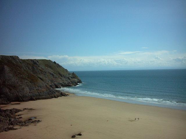 Pobbles beach viewed from Three Cliffs Gower Peninsula