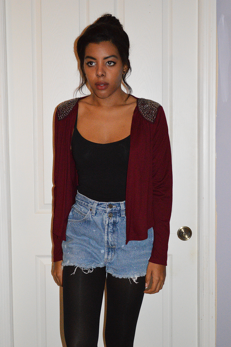 Fashion Blogger Anais Alexandre of Down to Stars in a Forever 21 Jacket and tank with vintage jean shorts