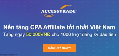 Kiếm tiền trên website blog với access trade