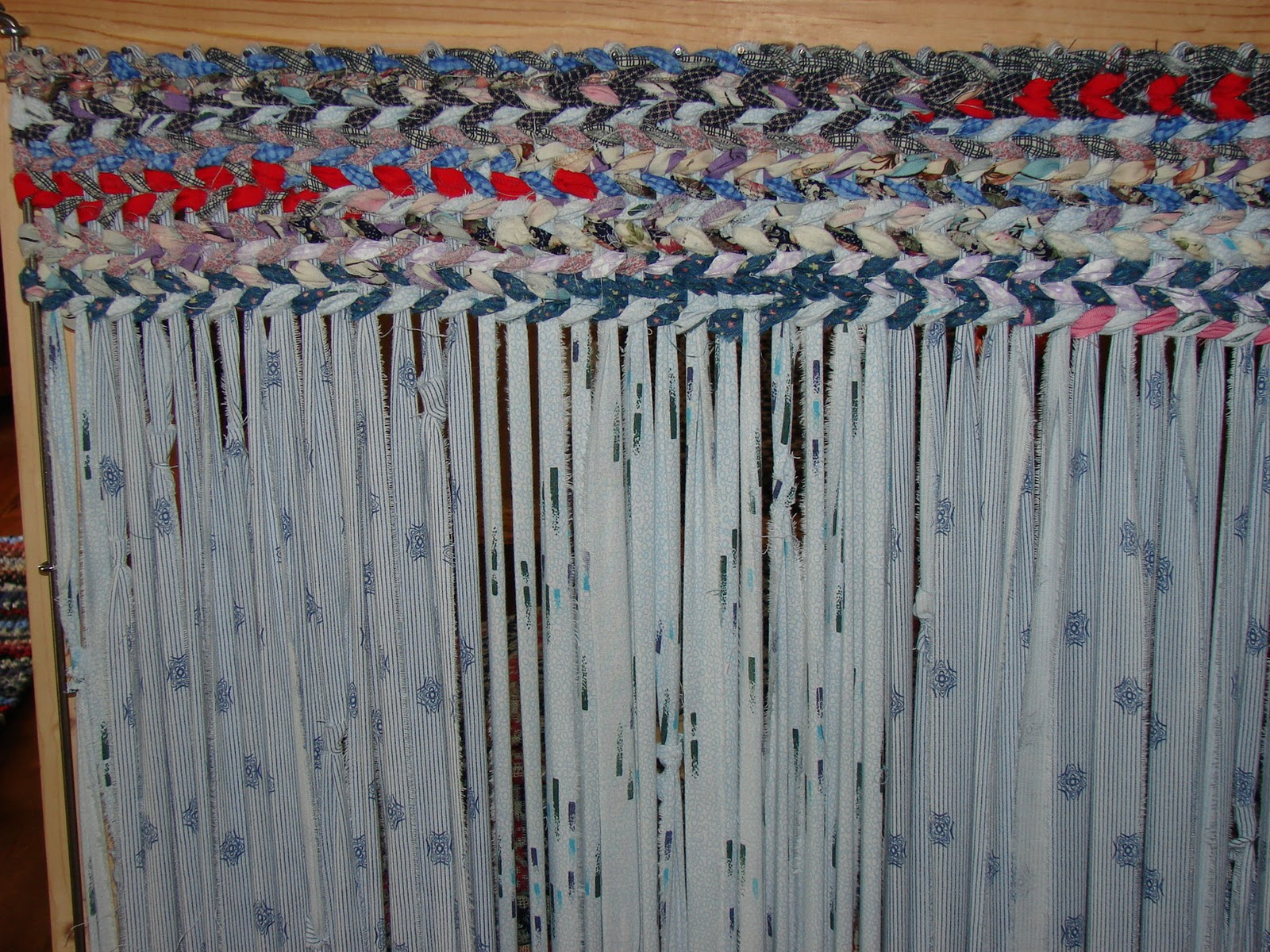 The First Step Is To String The Warp (vertical) With Fabric Strips. I Tear  My Strips  Much Quicker Than Cutting.