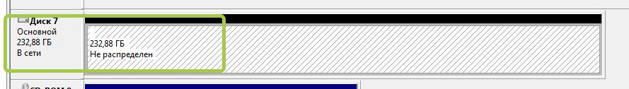 Неразмеченный диск в Windows7
