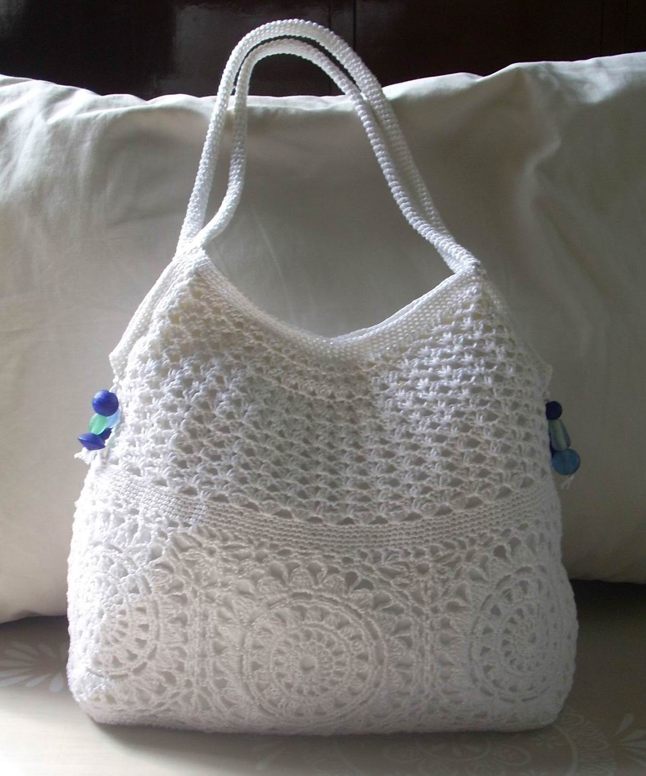 Crochet Backpack Purse : used white cotton thread size 8, held doubled, on an unknown hook ...