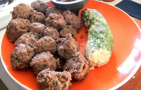Crispy Beef Meatballs with Green Cheese Loaf
