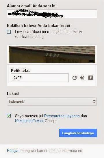 tampilan registrasi gmail