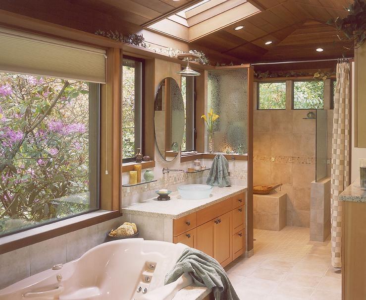Baño Con Vista Al Jardin:BAÑOS BLANCOS CON UN TOQUE DE COLOR / Decoración
