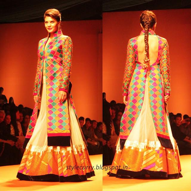 Jacqueline Fernandes walked the ramp for Manish Malhotra at Wills Lifestyle India Fashion Week Autumn Winter '13