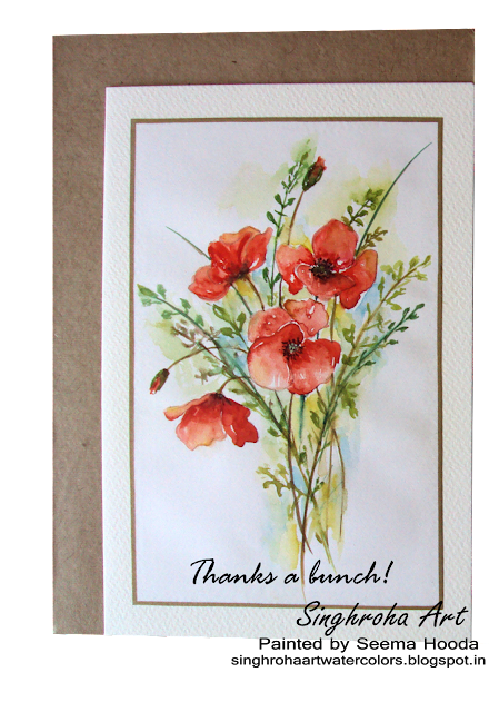 poppies, watercolorcard, artist, cardmaking, redflowers, challenge, floralart, floral, greetingcard, handpainted, handmade, nature, thankscard, thankyoucard, watercolours, ‬‪‎flowers‬, spring, redpoppies,thanksabunch,blooms