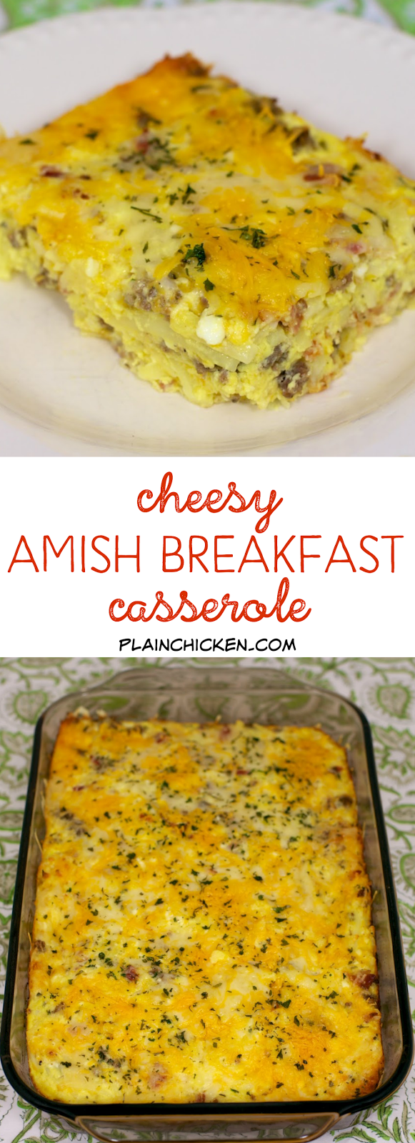Cheesy Amish Breakfast Casserole - bacon, sausage, hash browns, eggs, cheddar cheese, cottage cheese and swiss cheese. Can make ahead of time and freeze or refrigerate until later. SO good!!!