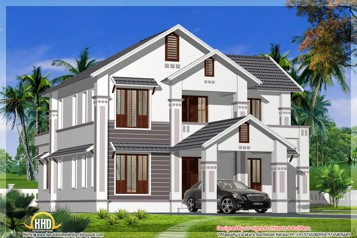 Kerala model sloping roof house 2400 sq ft kerala for Model house design