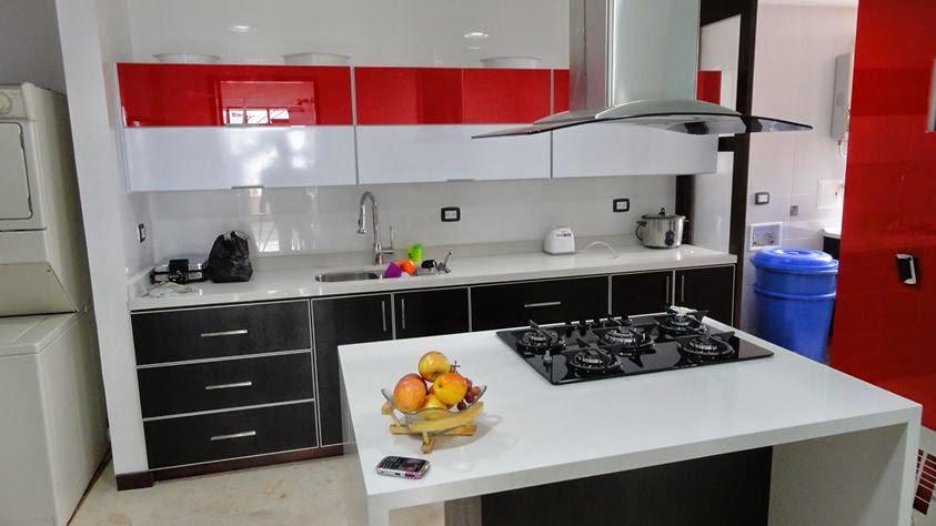 cocinas integrales pereira roja y blanca cocinas