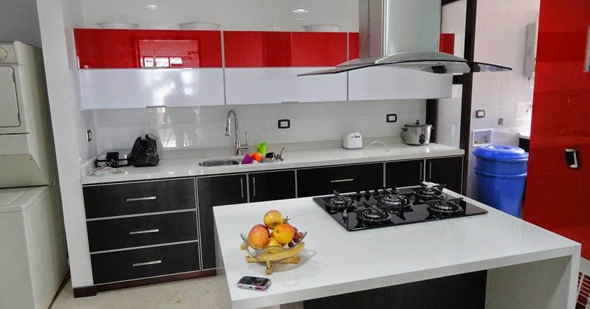 Cocinas integrales pereira roja y blanca cocinas for Cocina roja y negra