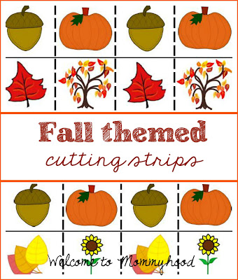 Montessori inspired fall themed cutting strips by Welcome to Mommyhood #montessori, #montessoriactivities, #preschoolactivities, #cuttingpractice