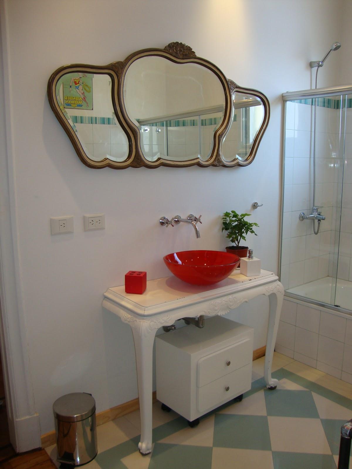 Bachas Para Baño Roja: retro se uso media mesa estilo provenzal para apoyo de bacha vidrio