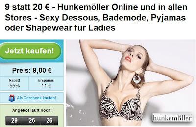 Groupon: 20-Euro-Gutschein für Hunkemöller zum Preis von 9 Euro