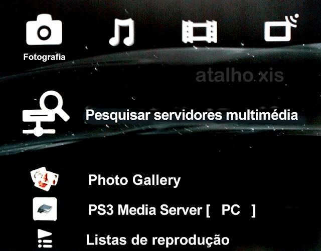 Pesquisar servidor multimédia na ps3