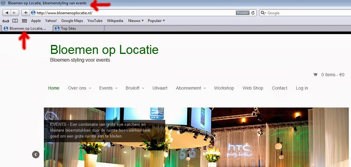 voorbeeld van de TITLE tag locaties in een browserscherm