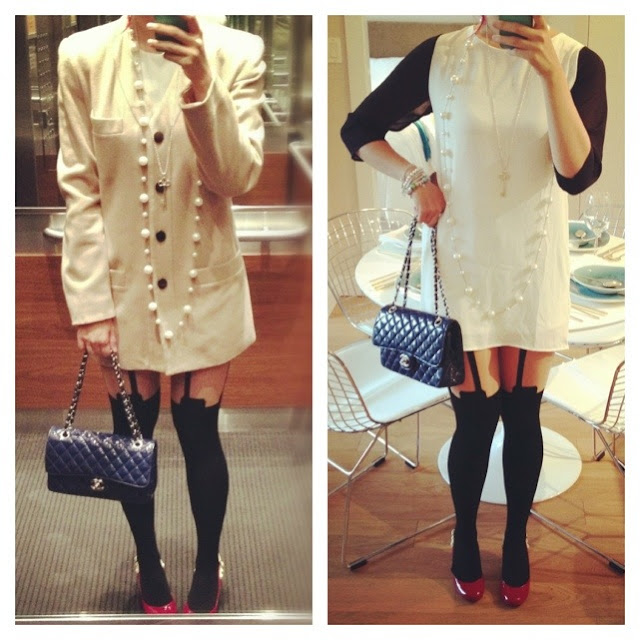 tobi black and white shift dress, vintage thrifted camel colour coat, suspender tights, red pumps, pearl necklace, Tiffany key necklace, chanel patent leather purse, outfit, fashion, style, street style, chic style