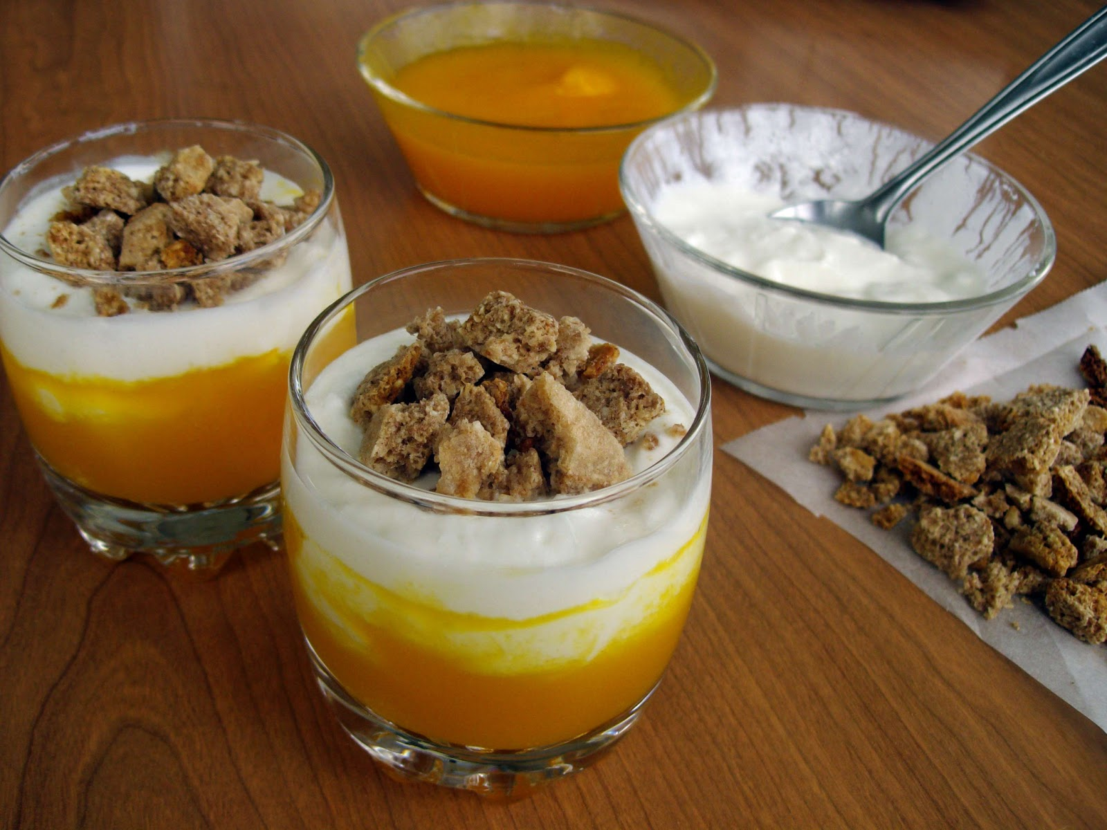 Vasitos de calabaza y yogur dukan