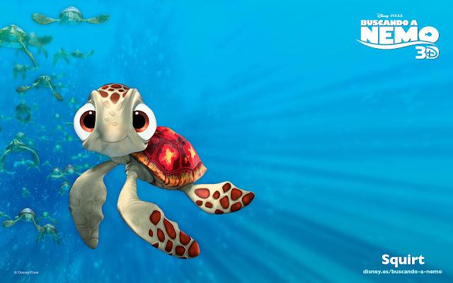Wallpaper de la película de Pixar buscando a Nemo, Squirt