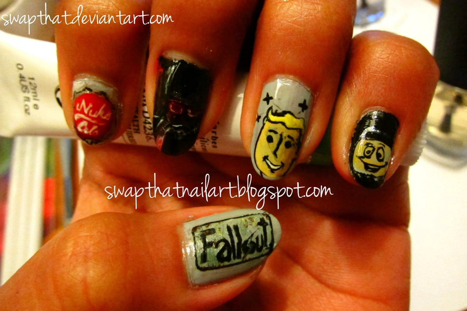 I Love Fallout Wandering In Wasteland And Drinking Nuka Cola Had Made It With Acrly Hope You Will Enjoy These Nails So Includes