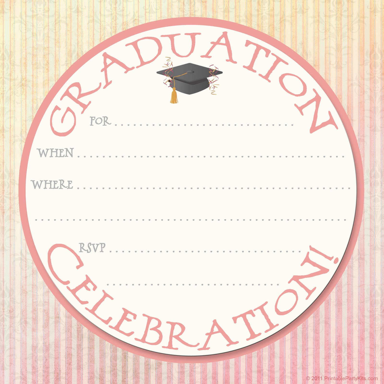 Free Printable Party Invitations: Graduation Party Announcement Design