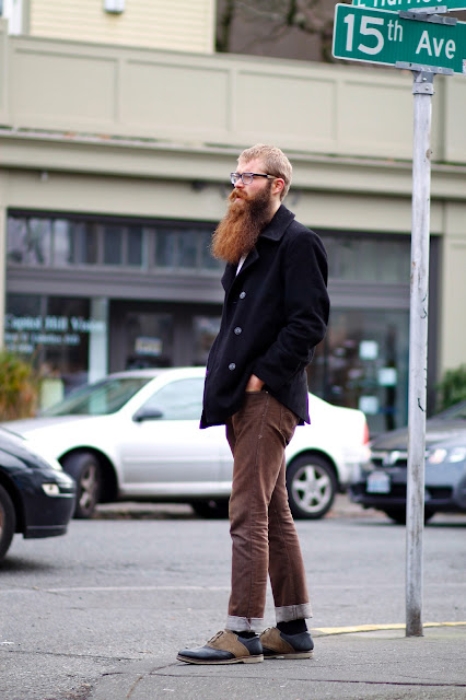 justin miskin two tone dress shoes seattle street style fashion it's my darlin peacoat