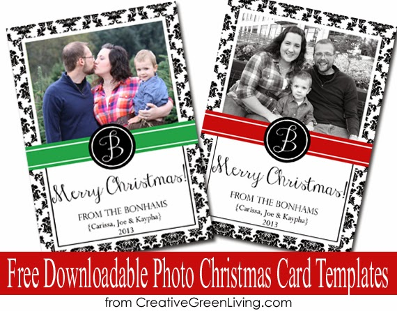 Free Downloadable Photo Christmas Card Templates Creative Green Living - Free christmas card templates for photographers