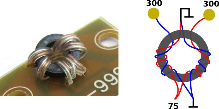 Wideband VHF/UHF impedance adapter (balun)