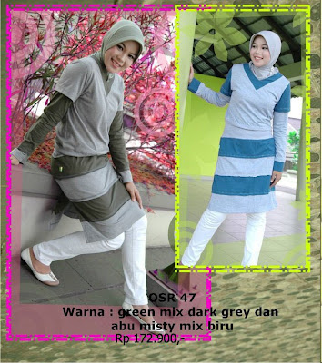 Koleksi Osmoes Kaos Muslimah Trendy Green Mix Dark Grey Abu Misty Biru