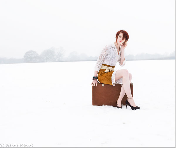 Psynopsis Fashion Shoot Harriet in Snow Vintage Lace Dress Leather Skirt Jil Sander Shoes