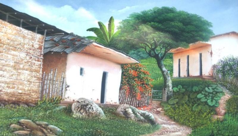 Cuadros modernos pinturas y dibujos cuadros paisaje - Casas viejas al oleo ...
