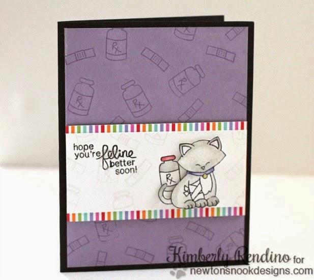 Get Well Cat card by Kimberly Rendino | Newton's Sick Day Stamp set by Newton's Nook Designs