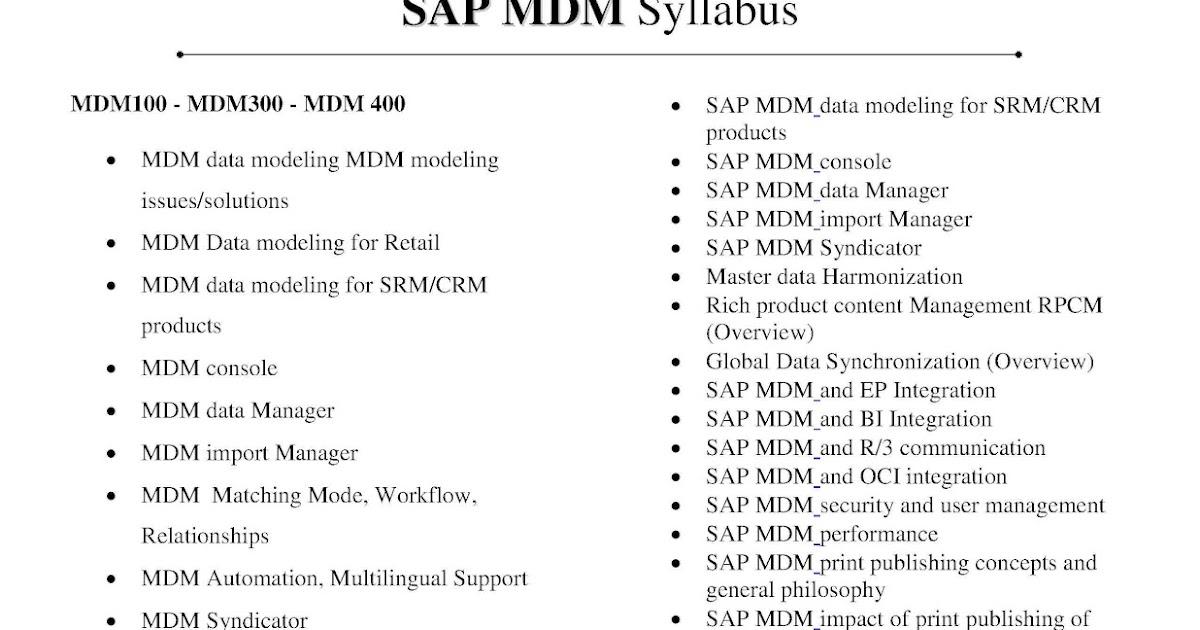 SAP MDM SYLLABUS   SAP MDM Training