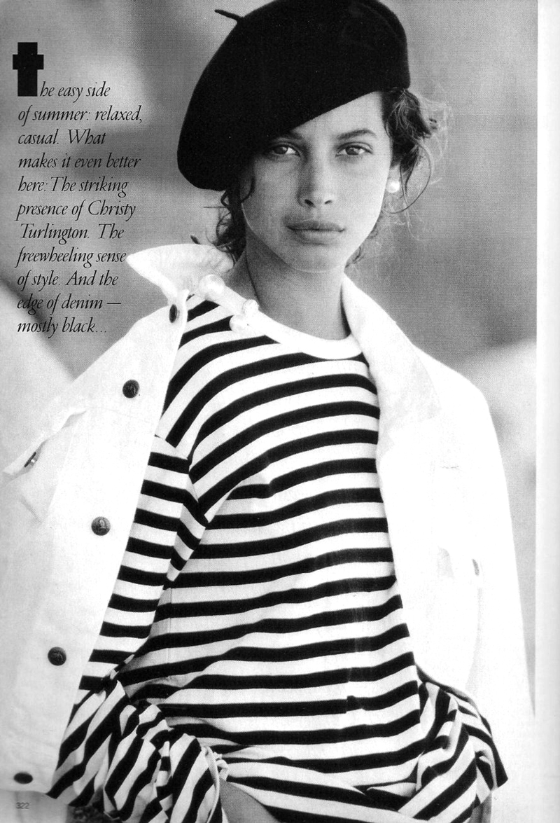 breton top / how to style breton top / Christy Turlington in Vogue US April 1988 (photography: Patrick Demarchelier) via fashioned by love british fashion blog