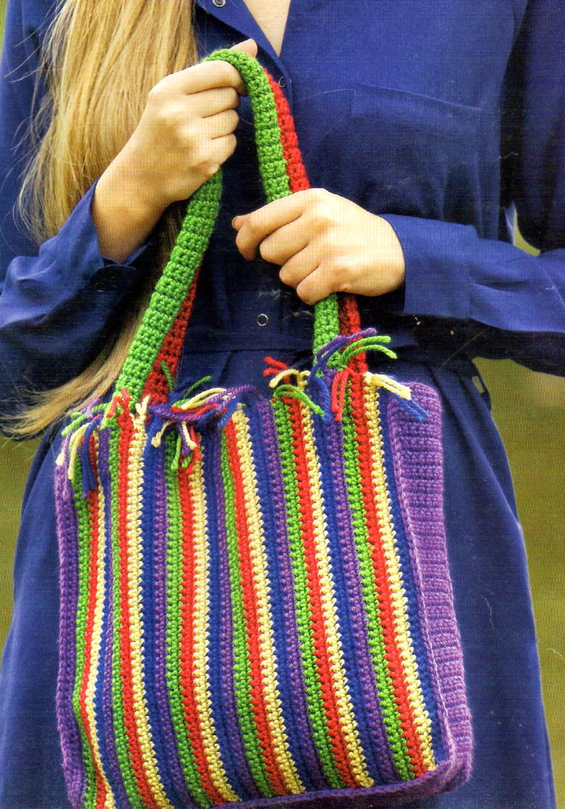 Tejidos artesanales en crochet crea un divertido bolso - Como hacer bolsos tejidos ...