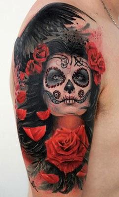 Tatuagens de rosto com caveira mexicana