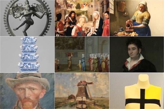 Obras en el Rijksmuseum de Amsterdam - Shiva Nataraja, La adoracion de los Magos, La lechera, Flor pirámide, El primer dia de clase, Retrato de Don Ramon Satue, Autorretrato, Molino de viento en un canal, Vestido Mondrian