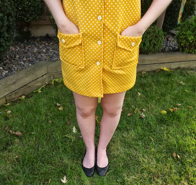 yellow dress, polka dot dress, 1960s, 60s, retro fashion, leg shoe, black ballet flats, vintage, A Coin For the Well
