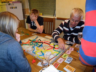 Ticket To Ride: Europe - The players with what looks like one realising it has all gone wrong!