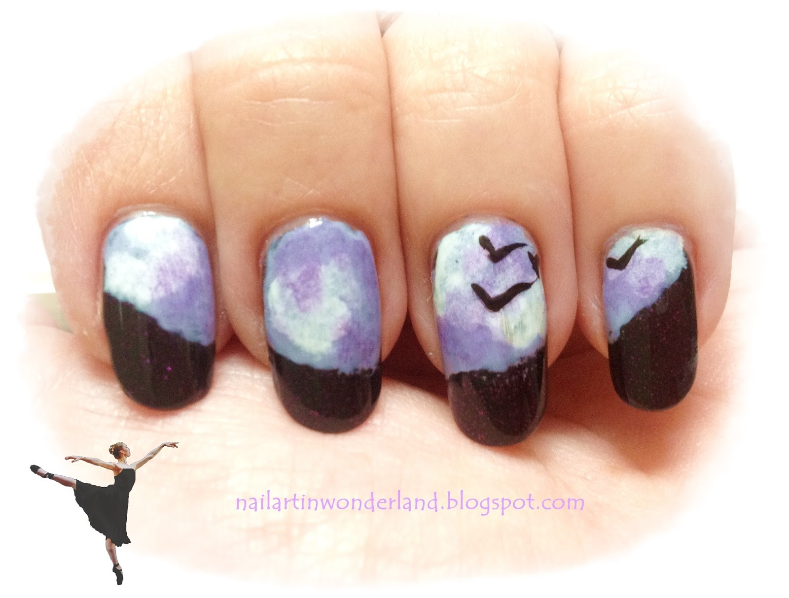Nail art inspired by a song: Under a Violet Moon by Blackmore's Night