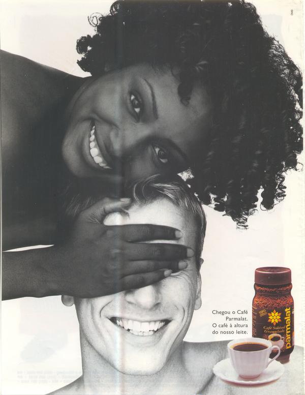Propaganda do Café Parmalat apresentado em 1997: associação ao sucesso do famoso leite.