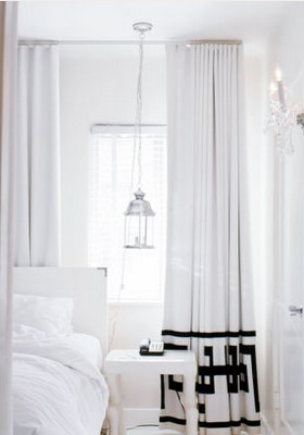 Made of metal matching curtains and walls - White bedroom with flowing curtains ...